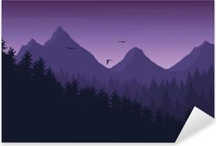 Pixerstick Sticker Vector illustratie van berglandschap met bos onder paars nachtelijke hemel met wolken en vliegende vogels