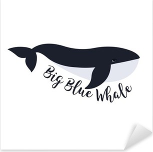 Pixerstick Sticker Vector illustratie van de walvis. symbool ontwerp