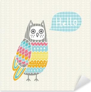 Sticker Pixerstick Vector illustration avec le hibou coloré