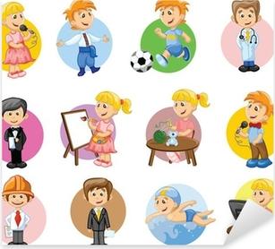 Sticker Pixerstick Vector illustration de personnes de différents métiers