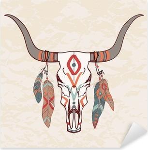 Sticker Pixerstick Vector illustration de taureau crâne avec des plumes