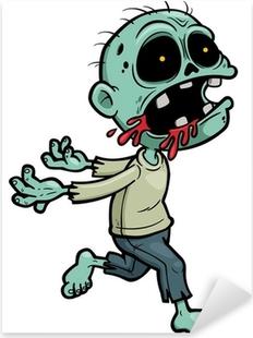 Vector illustration of Cartoon zombie Pixerstick Sticker