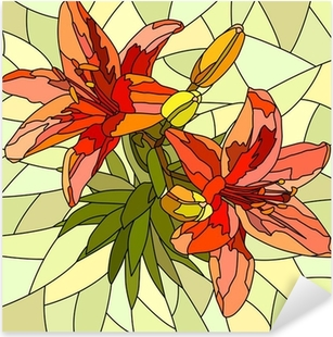 Vector illustration of flower red lilies. Pixerstick Sticker