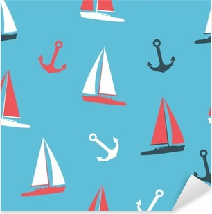 Vector illustration yachts and anchor silhouettes set Pixerstick Sticker