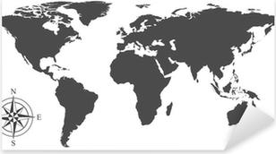 Pixerstick Sticker Vector kaart van de wereld