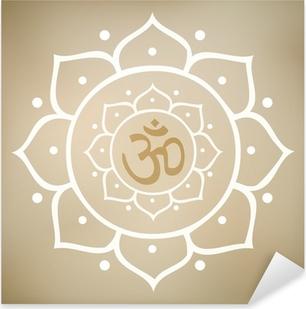 Pixerstick Sticker Vector Lotus Mandala met Om Symbool