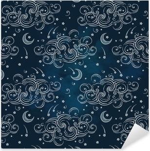 Pixerstick Sticker Vector naadloze patroon met hemellichamen - manen, sterren en wolken. Boho chic print hand getrokken textiel ontwerp