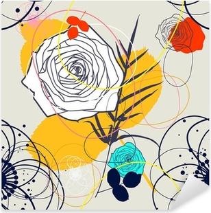 Pixerstick Sticker Vector Retro bloemen (naadloze patroon)