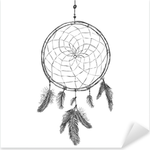 Pixerstick Sticker Vector Schets Indische Mascotte Dream Catcher