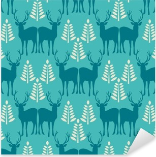 Vector seamless Christmas pattern with deer. Pixerstick Sticker