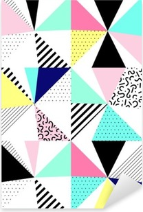 Vector seamless geometric pattern. Memphis Style. Abstract 80s. Pixerstick Sticker