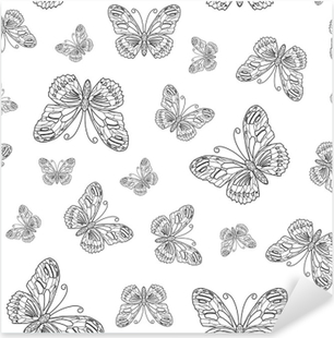 Vector Seamless Pattern From Butterfly Contour Coloring Page Book