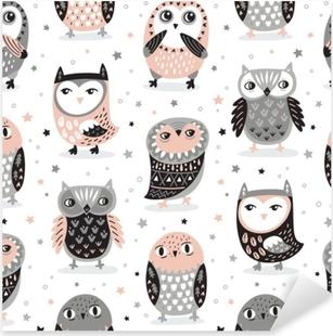 Vector seamless pattern with cartoon owls. Nursery decor Pixerstick Sticker