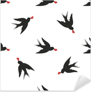 Vector seamless pattern with hand drawn vintage style black swallows and hearts Pixerstick Sticker