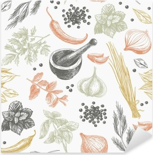 Vector seamless pattern with herbs and spices. Pixerstick Sticker
