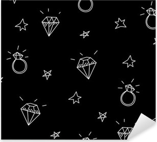 Vector seamless pattern with wedding rings, stars and jewels . Old school tattoo elements. Hipster style Pixerstick Sticker