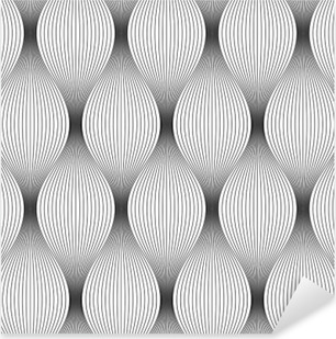 Vector seamless texture. Modern geometric background. Repeated monochrome pattern of the corrugated thin filaments. Pixerstick Sticker