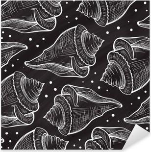 Sticker Pixerstick Vector Seashells pattern sur un fond de tableau