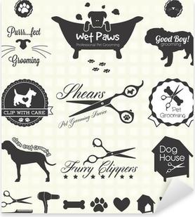 Pixerstick Sticker Vector Set: Pet Grooming Labels