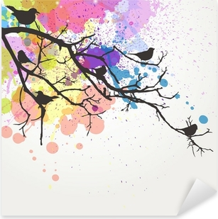Pixerstick Sticker Vector Tak met vogels op een abstracte achtergrond