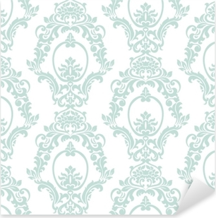 Vector Vintage Damask Pattern ornament Imperial style. Ornate floral element for fabric, textile, design, wedding invitations, greeting cards, wallpaper. Opal blue color Pixerstick Sticker