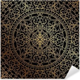 Pixerstick Sticker Vector zwarte achtergrond met gouden oosters ornament