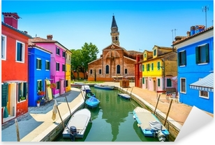 Venice landmark, Burano canal, houses, church and boats, Italy Pixerstick Sticker
