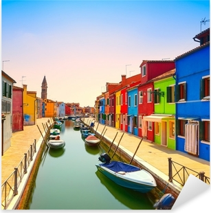 Venice landmark, Burano island canal, colorful houses and boats, Pixerstick Sticker