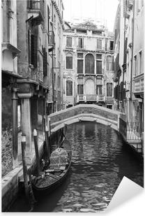 Sticker Pixerstick Venise vue en noir et blanc