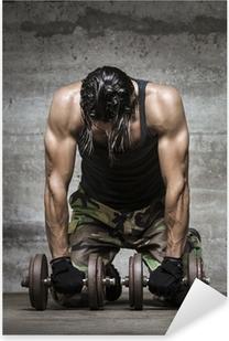Pixerstick Sticker Vermoeide spieren atleet