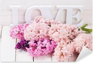 Pixerstick Sticker Verse bloemen en woord liefde