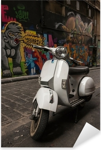 Vespa scooter parked in Hosier Lane, Melbourne Pixerstick Sticker