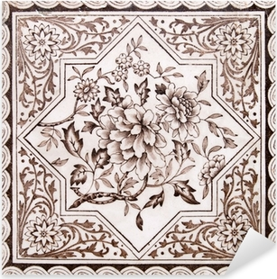 Victorian period decorative arts printed tile in sepia tone Pixerstick Sticker