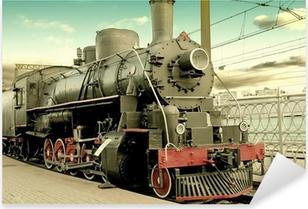 Sticker Pixerstick Vieille locomotive à vapeur à la gare