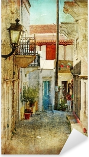 Sticker Pixerstick Vieilles rues grecques et artistique image