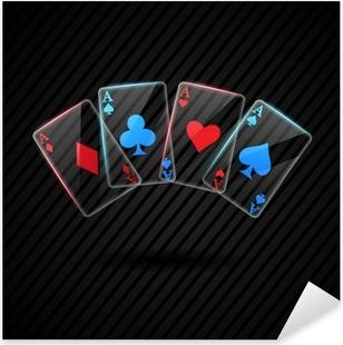 Pixerstick Sticker Vier Glass poker azen speelkaarten illustratie transparant