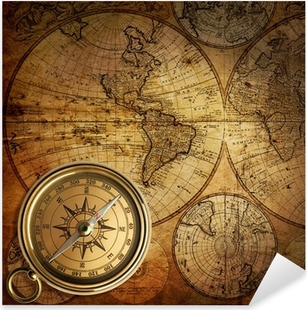 Sticker Pixerstick Vieux compas sur la carte vintage 1746