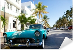 View of Ocean drive with a vintage car Pixerstick Sticker