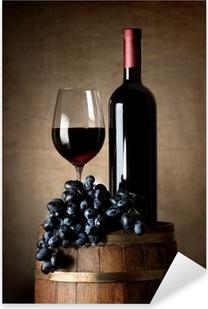 Sticker Pixerstick Vin rouge avec le baril et raisins