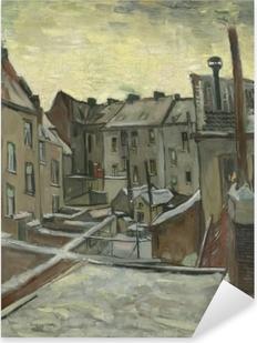 Sticker Pixerstick Vincent van Gogh - Arrière-cours des maisons anciennes à Anvers dans la neige
