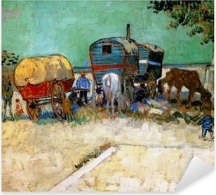Vincent van Gogh - Gypsy camp, horsedrawn wagon Pixerstick Sticker