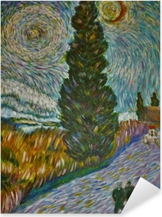 Pixerstick Sticker Vincent van Gogh - Landweg in de Provence bij nacht (Weg met cipres en ster)