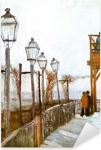 Sticker Pixerstick Vincent van Gogh - Terrasse et Observation Deck au Moulin de Blute-Fin, Montmartre