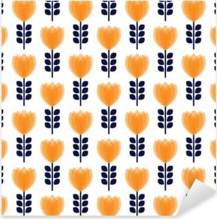 Vintage abstract flower seamless pattern Pixerstick Sticker