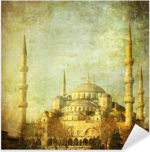 Pixerstick Sticker Vintage beeld van de Blauwe Moskee, Istanbul
