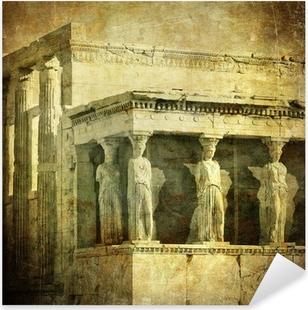 Pixerstick Sticker Vintage beeld van de kariatiden, de Akropolis, Athene, Griekenland