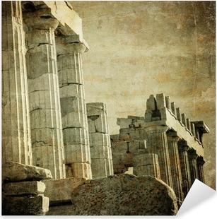 Pixerstick Sticker Vintage beeld van Griekse zuilen, de Akropolis, Athene, Griekenland