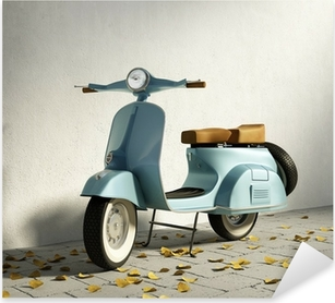 Vintage blue motorcycle vespa, by wall with fallen leaves Pixerstick Sticker