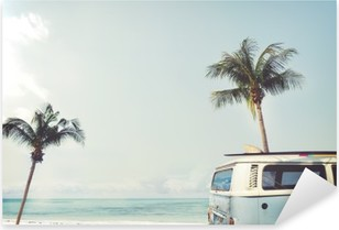 Vintage car parked on the tropical beach (seaside) with a surfboard on the roof - Leisure trip in the summer Pixerstick Sticker