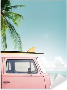 Vintage car parked on the tropical beach (seaside) with a surfboard on the roof Pixerstick Sticker